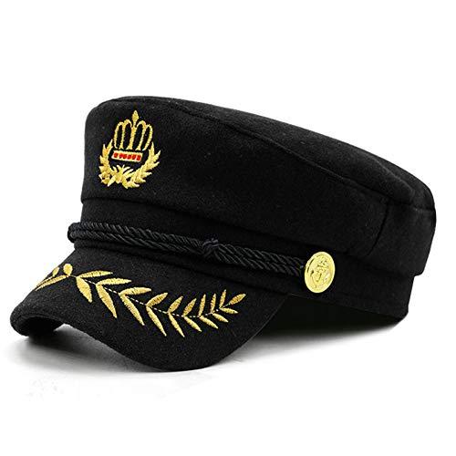 FHYY Muts Military Nieuwe geborduurde kroon dames hoed donkerblauw Moda zwart hoed cilinder plat wol retrovizier lentevizier herfst design cap