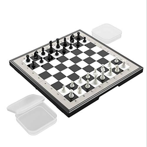 Juego de Ajedrez Conjunto de ajedrez magnético de viaje con placa plagada de ajedrez de ajedrez conjunto de ajedrez con caja de almacenamiento juguetes educativos Ajedrez y Damas ( tamaño : Small )