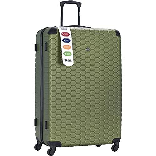 London Hexagon - Maletín con ruedas (ABS, tamaño XL), color verde