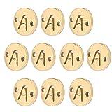 Colgante de letra de 10 piezas, collar de alfabeto de acero inoxidable, colgante de disco redondo para hacer joyas de bricolaje, elaboración de pulseras