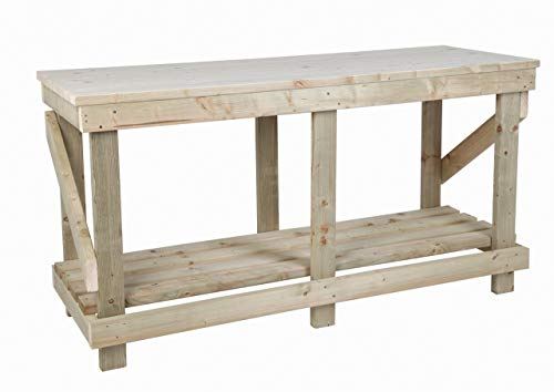 MC TIMBER PRODUCTS LTD 6ft (1.8m) Heavy Duty Work Bench - Strong & Sturdy - Solid Wood Top