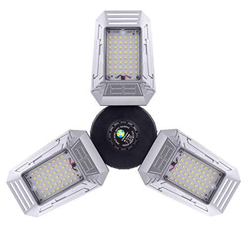 LED Garage Lights 60W 8000LM Deformable LED Garage Ceiling Shop Light E26/E27 Three-Leaf Daylight with 3 Adjustable Panels Lights Bulb for Warehouse Workshop Barn Basement Light Premium