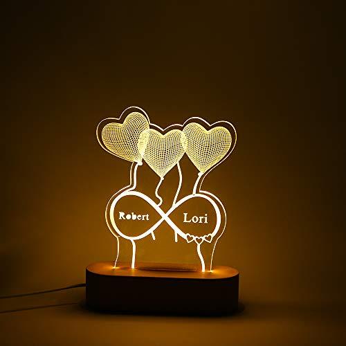 Jewelora Personalisiertes Nachtlicht mit 2/3 Namen Gravierte Schreibtischlampe LED Dekor Schlafzimmer Wohnkultur Lichter Liebhaber Freunde Familie Jubiläum Hochzeit Geburtstag (#2)