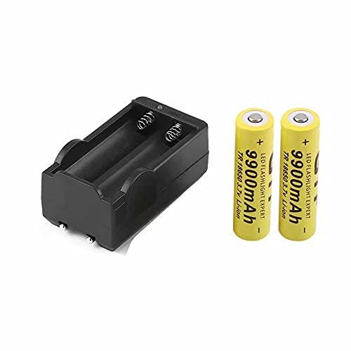 2Pcs 18650 9900mah Batería Recargable con Cargador 3,7 V 18650 Baterías de Iones de Litio Baterías de Litio Universales con Cargador