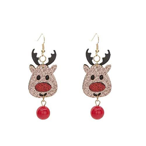 Nicedier Pendientes Colgantes de Navidad Pendientes Rhinestone Brillante Colorido de Navidad cuelgan aretes Reno Adornos de joyería Linda