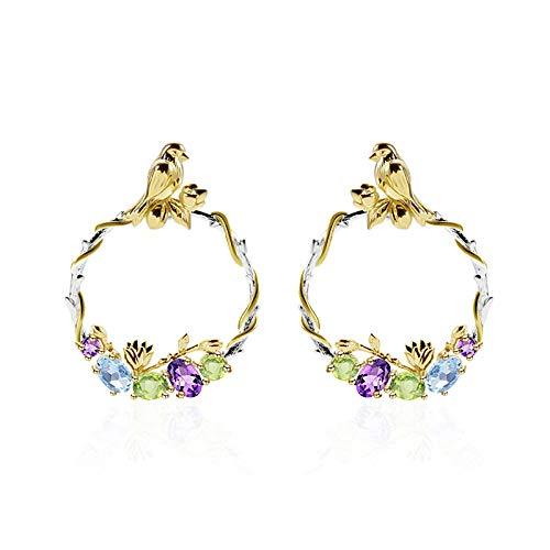 jiao 925 Sterling Silber Vogel Romantische Geheime Garten Ohrringe Natürliche Bunte Edelsteine Tropfen Ohrringe für Frauen Schmuck