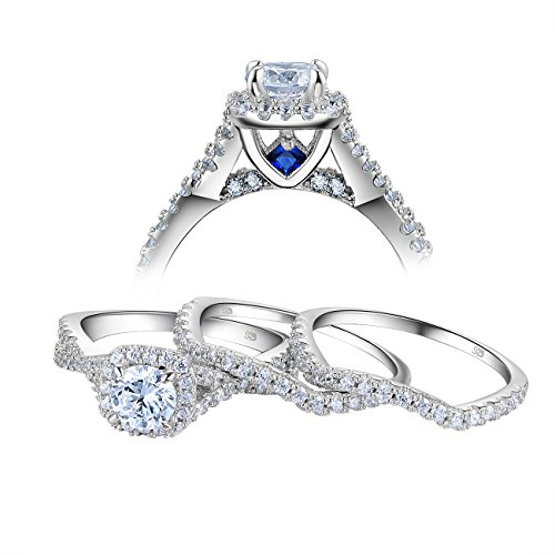 Newshe Engagement Wedding Ring Set for Women 925 Sterling Silver 3pcs Round White AAA Cz Size 6
