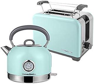 Bouilloire électrique rétro Vintage Cuisine avec thermomètre et Grille-pain (MINT)