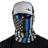 Hoo-Rag - High Performance 100% Moisture Wicking Polyester Microfiber Multi-Functional Face Mask & Neck Cover - UPF 30 - One Size Fits Most - Thin Blue Line American Flag Bandana