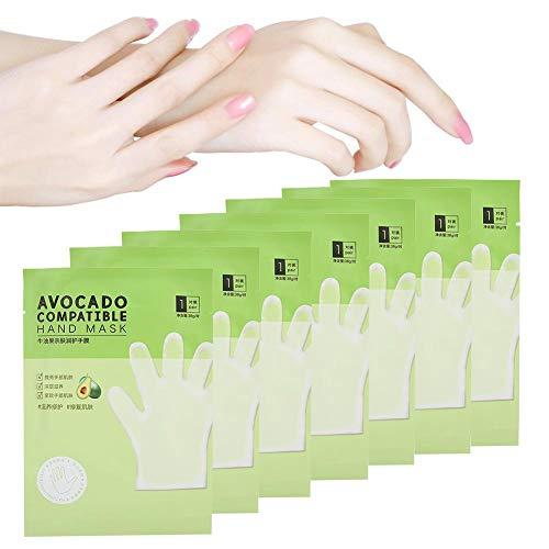 Hand Peel Mask, 7 Stück Avocado Hautfreundliche, feuchtigkeitsspendende, pflegende Handmaske Anti-Trocken-Handpflege für trockene Hände Reparatur von rauer Haut für...