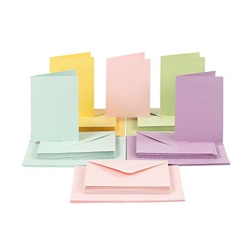 Card Making Karten und Briefumschläge Set, DIN A6, Pastell, 100-tlg.