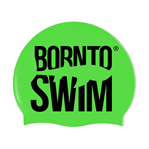 BornToSwim Jugendliche und Erwachsene Badekappe aus Silikon Neon Schwimmkappe Mit Hai Motive, Leuchtend Grün/Schwarz, One Size fits All