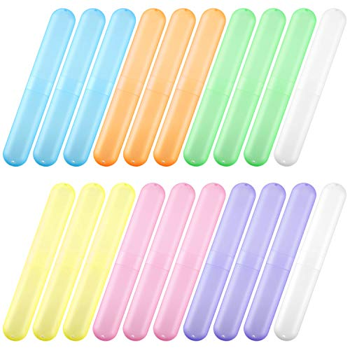 20 Pieces Travel Toothbrush Case Holder, Portable Toothbrush Storage, 7 Assort Color Plastic Toothbrush Case Holder Toothpaste Case Cover Protector for Travel Use