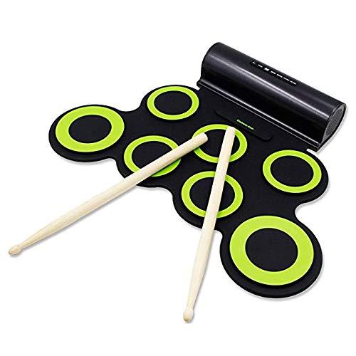 RROWER Kit eléctrico de 7 baterías Pastillas de práctica portátiles Pedal Doble Material de Silicona Tambor electrónico con Rollo Manual Sentido de Ataque Necesidad de parlantes externos