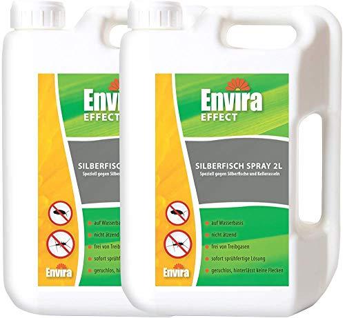 Envira Silberfisch-Spray - Anti-Silberfisch-Mittel Mit Langzeitwirkung - Geruchlos & Auf Wasserbasis - 2x2L