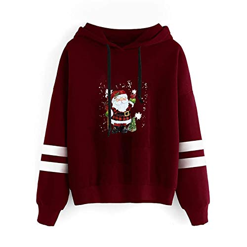 URIBAKY - Jersey de manga larga para mujer, con capucha, diseño de Navidad, con capucha, 3D, sudadera con capucha, sudadera con capucha, sudadera con capucha, A-vino, M