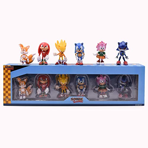 MIAOGE Sonic Spielzeug 6 Stück / Set Anime 2. Generation Sonic Tails Amy Rose Rouge Knöchel PVC...
