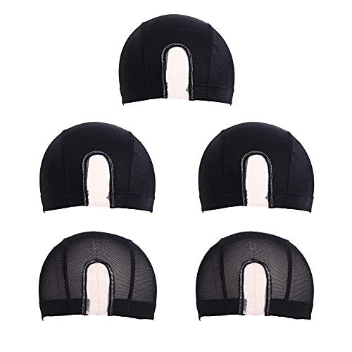 5 piezas malla cúpula peluca tapa spandex estirable cabello transpirable hombres mujeres negro tejido u parte peluca tapa para la formulación de pelucas BJY969
