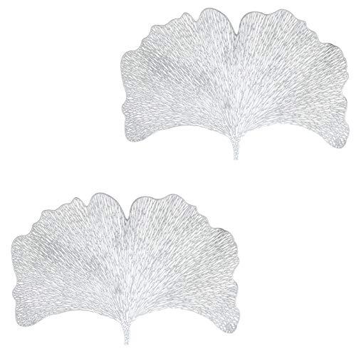 N\O CYJZHEU Manteles Individuales PVC, 2 Piezas Salvamanteles Individuales Lavables Antideslizantes Resistentes al Calor Hojas para Decoración de Mesa en el Restaurante de Casa (Plata, 44 x 30 cm)