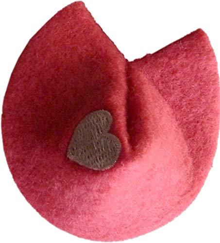 Unbekannt 1 Glückskeks Filz alt Rose Idee für Geld- & Gutscheine ca 7 x 6 cm mit Herz Bestickt