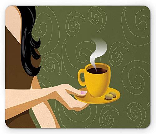 Kaffeemaus-Pad, halbe Szene einer Frau, die eine Tasse mit heißem Getränk und Keksen hält, rechteckiges rutschfestes Gummi-Mauspad, Standardgröße, Olivgrün und Mehrfarben