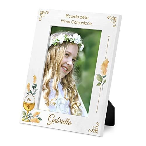 Maverton Cornice Foto - Bianca - Personalizzazione Stampata a Colori - Porta Foto in Legno - 27,5 x 21,5 cm - Portafoto da Tavolo - Cornici da Parete - regalo donna - 1° Comunione