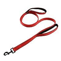 犬しつけ用リード 中型大型犬用の反射性犬の鎖優れた制御安全性のためのダブルハンドルリード犬の赤