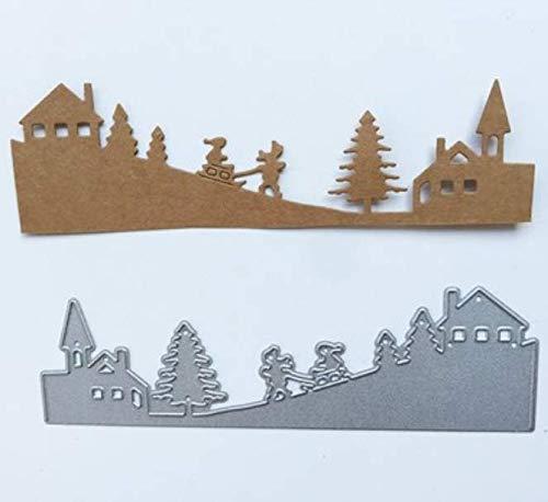 House Tree Sneeuw Papier Machine Snijden Sjabloon DIY Mes Model Wenskaart Album maken Embossing 4.4X14Cm