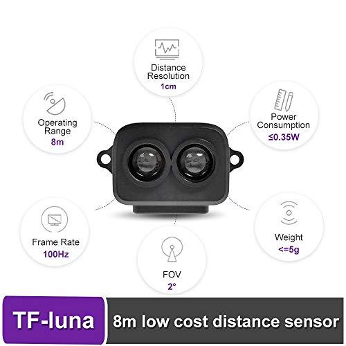 youyeetoo TF-Luna Lidar Sensor Module Single-Point Ranging Module 0.2-8m Measurement Range Distance, for Drone Industrial Sensing Robot Smart Home Support I/O, UART and I2C