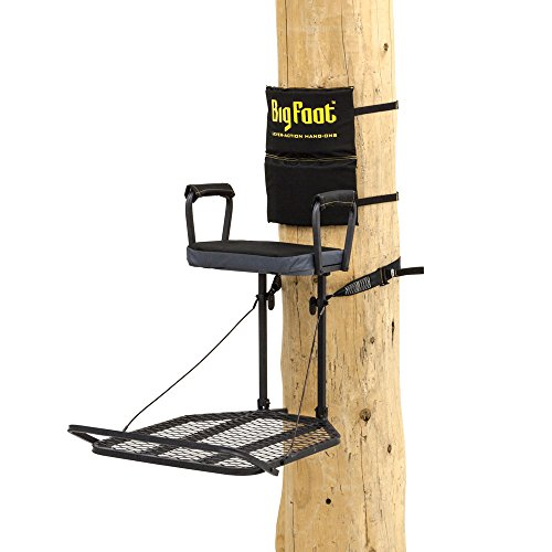 Rivers Edge RE559, Big Foot XC, Lever-Action Hang-On Tree Stand with Padded Flip-up Seat, Large 32 x 24 Platform, Arm/Footrest and Backrest pad,Black