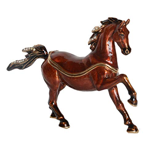 Minihouse Arabian Horse Trinket Box Metal Enameled Animal Figurine Collectable Wedding Jewelry Ring Holder Organizer,Unique Gift for Home Décor