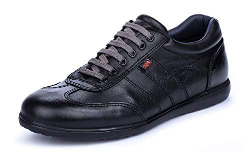 Bari Negro Zapatillas Casual Hombre de Piel con Cordones Talla 48 EU