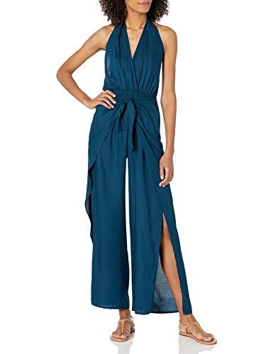 BCBGMAXAZRIA Women's Jumpsuit Swimsuit Cover-Up, Ink Blue//wrap Me Up, L