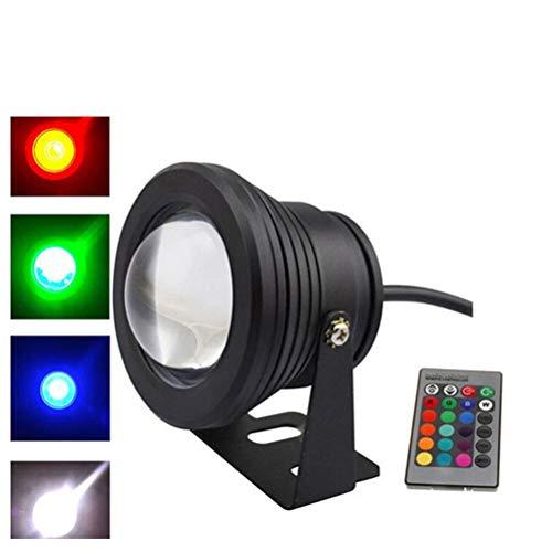 LEDMOMO Lampe LED étanche pour fontaine de piscine avec télécommande infrarouge pour extérieur (coque noire RVB) 10 W