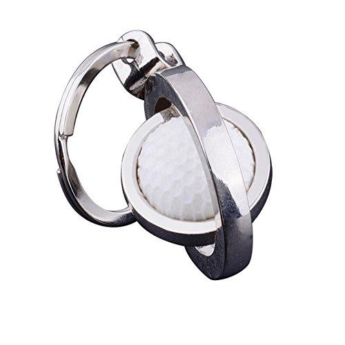 Qinlee Golfball Schlüsselanhänger Einfach Schlüsselring Rucksack Auto Anhänger Zubehör Schlüsselbund Mode Geschenk für Kinder Freunde Familie (Weiß)