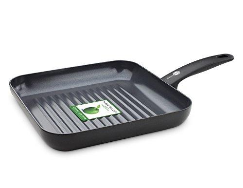 GreenPan Poêle Grill, Revêtement Antiadhésif Sain en Céramique, pour Induction/Four/Lave-Vaiselle, 28cm, Noir