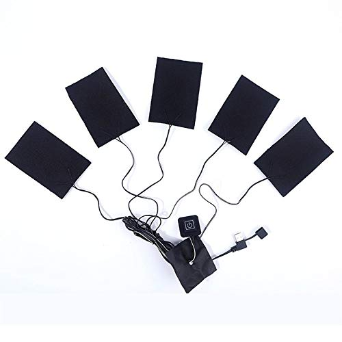 CVBN 5 en 1 Pieza calefactora Temperatura Ajustable USB calefacción eléctrica Fibra de Carbono, Negro