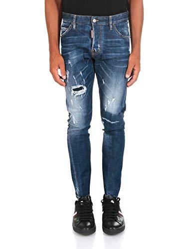 Dsquared² Herren Jeans Slim Leg S74LB0416 Sexy Twist Skinny, Farbe: Dunkelblau, Größe: 52