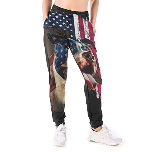 CLERO& Lustige Jogginghose für Damen, amerikanische Flagge, mit Taschen Gr. M, Schwarz