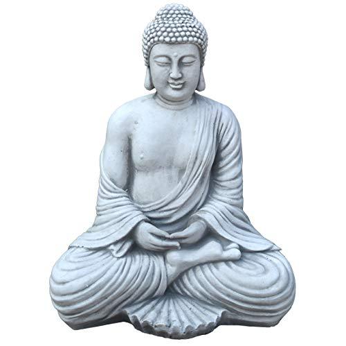gartendekoparadies.de Massive Steinfigur Buddha Statue aus Steinguss frostfest (Grau)