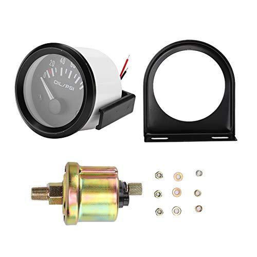 Medidor de presión de aceite de coche, 52mm / 2in 12V, indicador de presión de aceite electromagnético universal para coche, medidor modificado automático