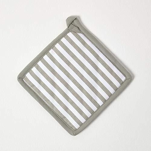 Homescapes – Pur Coton – Manique - Rayure Mince – Gris Blanc – 20 x 20 cm - Linge de Cuisine Entièrement Coordonné et Lavable