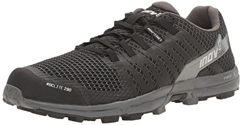 Inov-8 Men's Roclite 290 Trail Running Shoe, Black/Grey, 8 N US