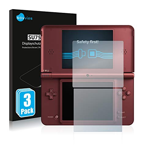 Savvies 6X Schutzfolie kompatibel mit Nintendo DSi XL Displayschutz-Folie Ultra-transparent