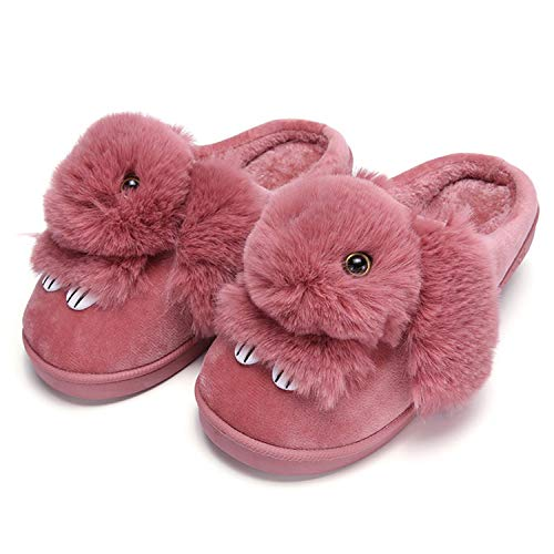 Light Women Winter Home Slippers Ladies Animal Cute Bunny Warm Plush Indoor Slippers House Soft Casual Shoes Fo Deep Red
