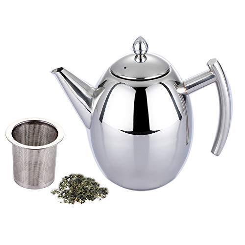 Set di teiera in acciaio inox da 1,0 l/l, con filtro infusore per preparare tè sfuso, adatto per ristoranti, sale conferenze, soggiorno, cocktail party all'aperto (argento) (1000 ml)