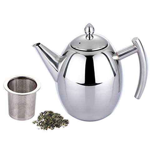 1.0 L/Liter Stainless Steel Teapot Set, Coffee Pot with Infuser Filter to Brew Loose Leaf Tea, Suitable for Restaurants, Conference Rooms, Living Room, Outdoor Cocktail Party (Silver) (1000ML)