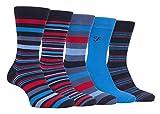 FARAH® - 5er Pack Herren Bambus Socken | Uni Bunt & Gestreift Socken (Navy blau, 39-45)