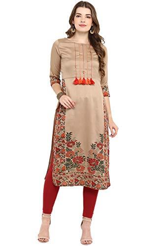 Janasya Indian Tunic Tops Poly Silk Kurti For Women (JNE2305-KR-533-L) Brown