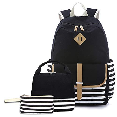 3 Pcs Canvas Backpack Set Galaxy Star Patterned Bookbag Laptop School Backpack for Girls - black - One Size